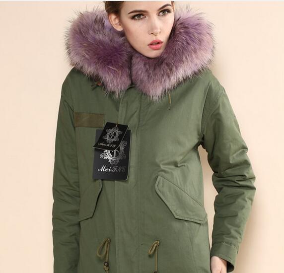 Fashion women warm coats Meifeng brand Lavender raccoon fur trim Lavender rabbit fur lined army green canvas mini parka with YKK zipper