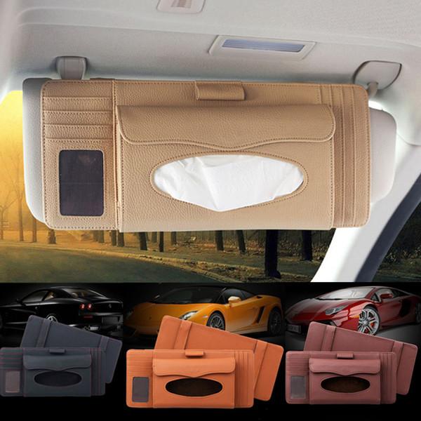 CD Clip Organizer Storage Box Card Pen Car Sun Visor Multifunction 1 Pcs Tissue Holder Home Kitchen Universal PU Leather
