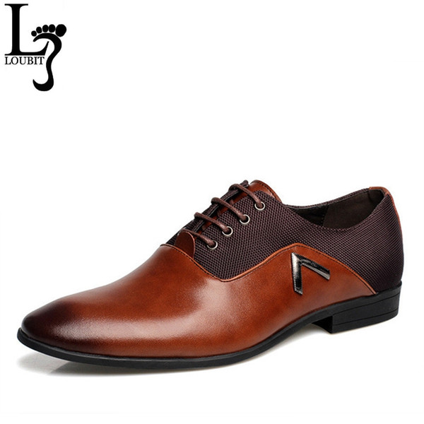 Men Leather Dress Shoes Men's Black Brown Camel Oxford Shoes Formal Office Business British Lace-up Man Wedding Shoe