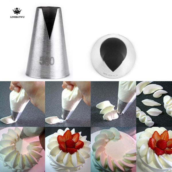 LINSBAYWU Popular 580# Flower Icing Piping Nozzles Cake Cupcake Decorating Pastry Tool baking nozzle tips