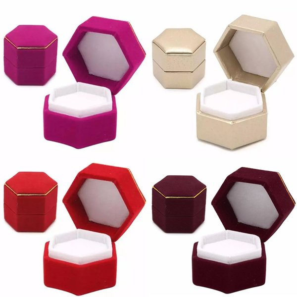 Hexagonal Finger Ring Box Jewelry Display Holder Velvet Ring Storage Box Case Container For Ring Earrings Xmas Gift 7Colors HH7-1376