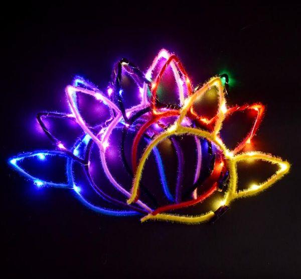 LED Light Up Glowing Rabbit Ear Headband Bunny Women Girl Flashing Headwear Easter Cosplay Fancy Dress Props Christmas Hairband hair stick