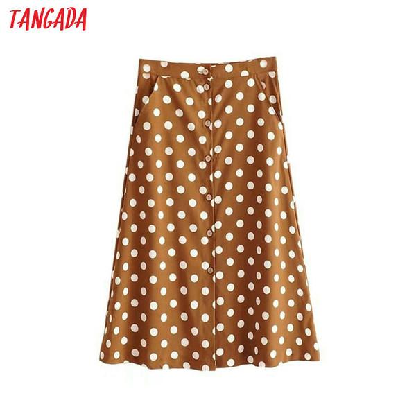 Tangada vintage polka dot print skirt for women korea fashion ladies midi skirt boho pockets button skirts QJ26 D1891802