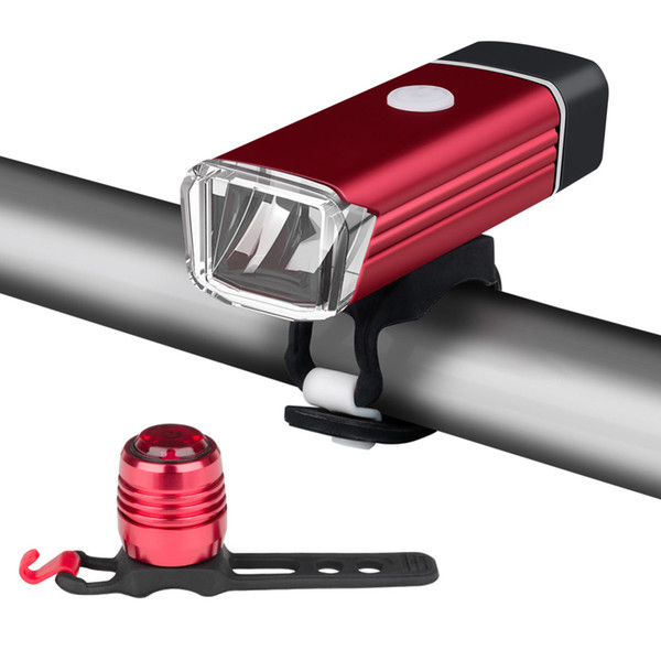 USB Rechargeable Bicycle Front Headlight Waterproof Cycling Lights Safety Warning Rear Taillight for Bike