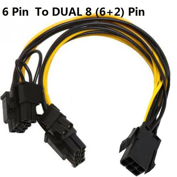 Lot PCI-E 6-pin to 2x 6+2-pin 6-pin//8-pin Power Splitter Cable PCIE PCI Express