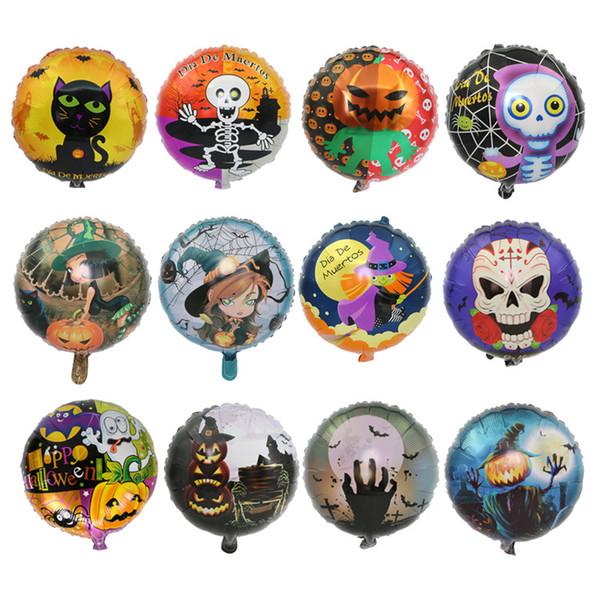 Halloween Cartoon Balloons Aluminum Film Skull Witch Pumpkin Pattern Air Balloon Birthday Party Decor Designs Supplies Round Ball