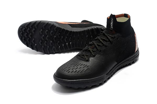 Black Orange Mercurial Soccer Cleats Turf Indoor Football Boots 100% Original SuperflyX 6 Elite TF Mens Indoor Soccer Shoes