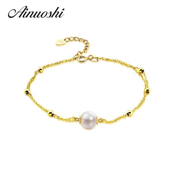 57603a81d245 AINUOSHI Pure AU750 18 K oro amarillo cultivadas de perlas de agua dulce  pulsera de cadena