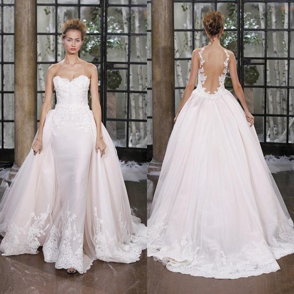 Designer Light Pink New Overskirt Mermaid wedding dresses Applique Lace See Through Back Bridal Gown Cheap Elegant Beach Boho Berta Summer