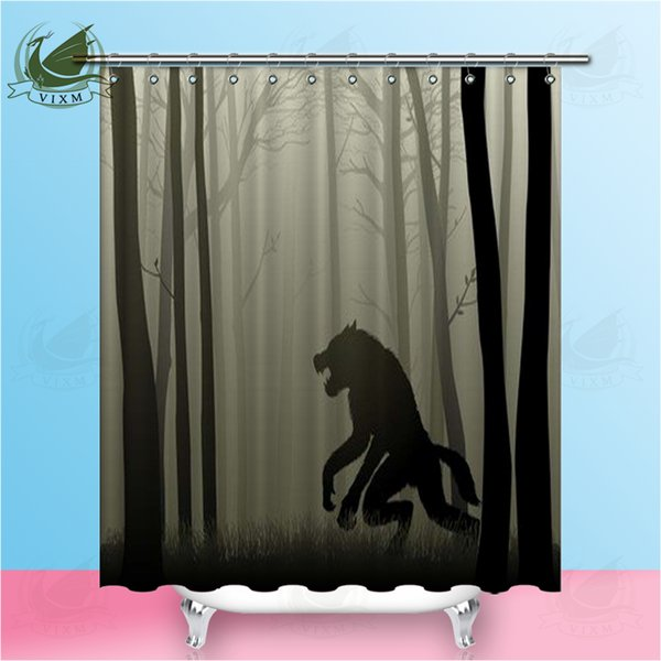 Vixm Werewolf In The Dark Forest Shower Curtains 3D Illustration Waterproof Polyester Fabric Curtains For Home Decor