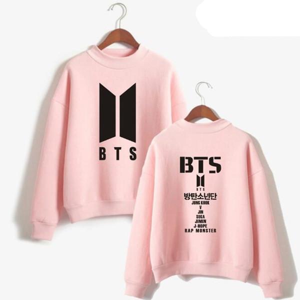 Korean Fashion bts love yourself Harajuku Hoodie For Women Men Bangtan Hip Hop Pink Sweatshirt Pullovers Female Kpop Clothes