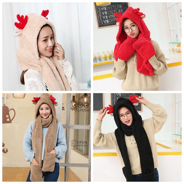 Women Faux Fleece Deer Hooded Hood Scarf Cap Gloves Girls Soft Fur Winter Warm 3 in1 With Hats Gloves 4 colors AAA1093