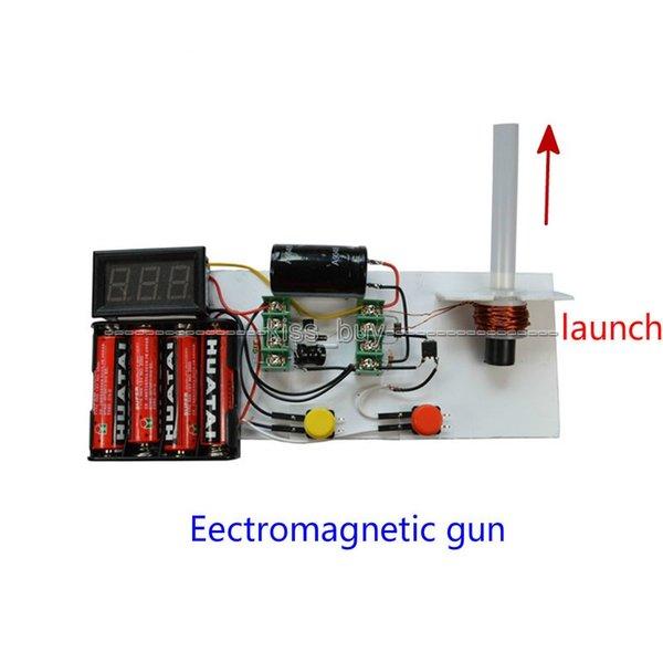 Freeshipping Electromagnetic Gun Diy kits + Voltmeter For Electronic electromagnetic experiment