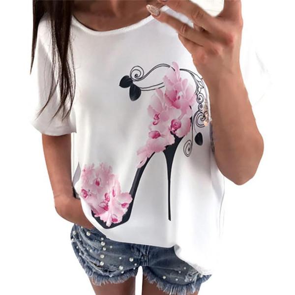Women Short Sleeve High Heels Printed Tops Beach Casual Loose Top T Shirt