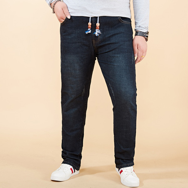New Men's Ripped Motorcycle Denim Pants Man Stretch Biker Jeans Slim Fit Harem Pants Washed Blue Black Large Big Size 28-46 48