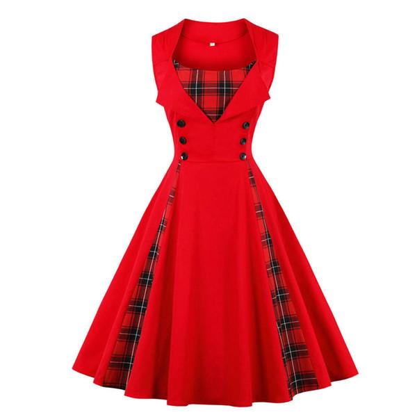 1637847e196 Womens Plaid Retro Summer Dress Patchwork Print Ball Gown 50s 60s Vintage  Dress Swing Elegant Party Dresses Plus Size 5XL New