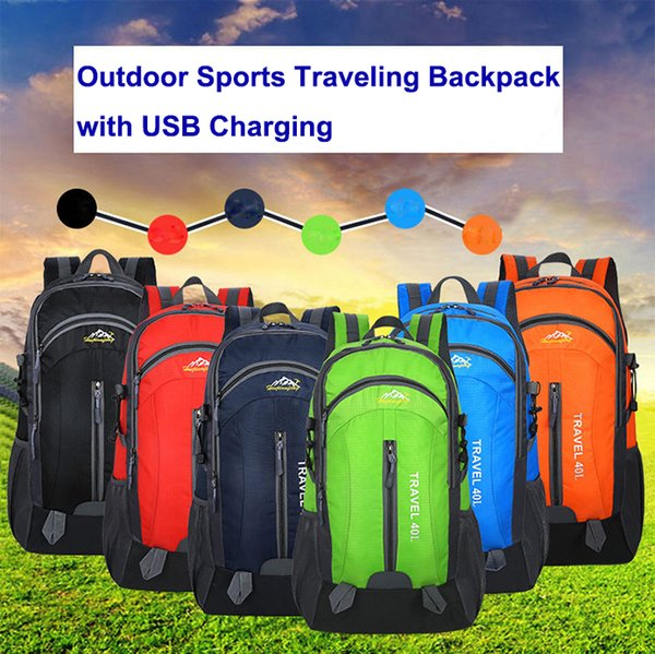 Sports Backpack Multicolor 40L Large Capacity USB Backpack Waterproof Travel Bags Mountaineering Bag for Men and Women