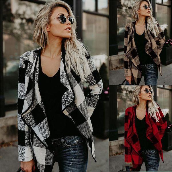 9057eb0b43 2018 Moda Outono Europeu Americano Moda Elegante Xadrez Outono Inverno  Lapela Pescoço Outwear Casacos Assimétricos Casacos