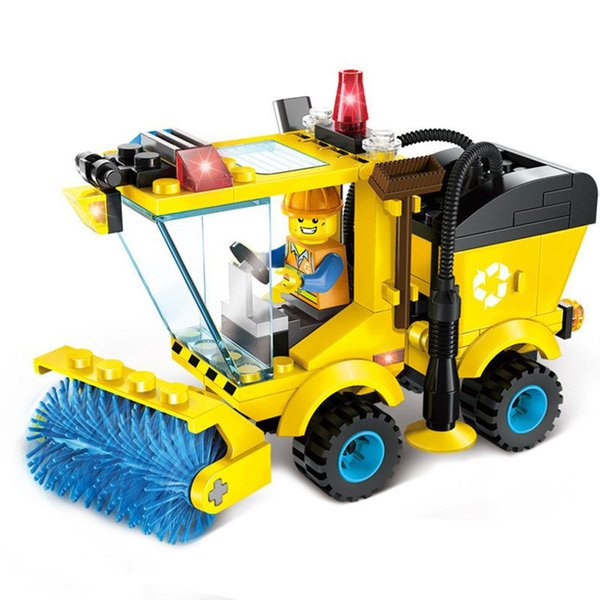 102 pcs Car-Stying Sweeper Model Building Blocks Kits Toy Sets Small Particles Assemblage Educational Puzzle Toys for Children