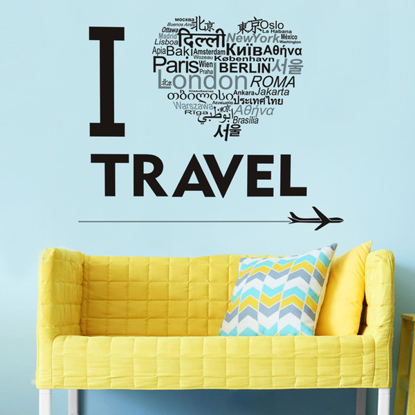 """""""I Love Travel"""" Wall Stickers Love Pattern Waterproof PVC Wallpapers Arts Self-adhesive Decals Can Be Removable Sitting Room Bedroom Decor"""