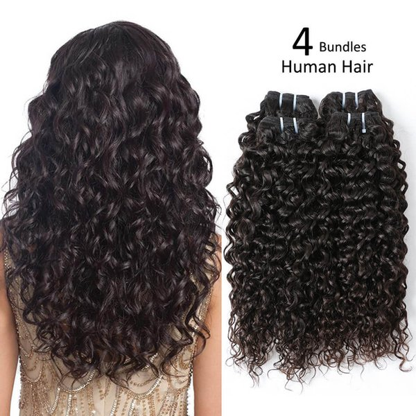 Beauty On Line Peruvian Water Wave Human Hair Unprocessed Virgin Hair Weave Bundles 4 PCS 8-30inch Hair Extension Natural Color Free Ship