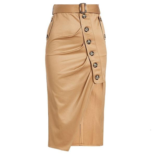 Automne jupe taille haute kaki mode angleterre style preppy hiver bouton asymétrique jupe femmes jupe a-ligne
