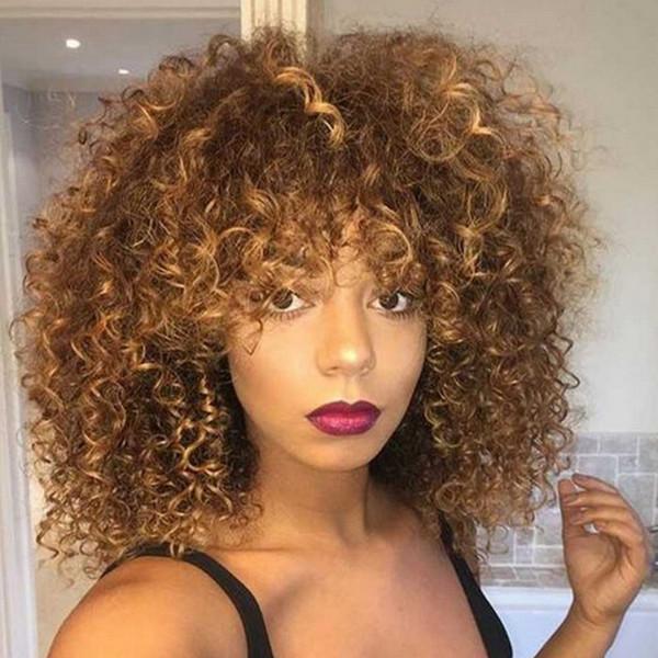 14 pouces de long bouclés afro bouclés perruques pour les femmes noires Blonde perruques synthétiques cheveux mélangés africain brun