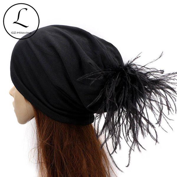 GZhilovingL Coole Weiche Baumwolle straußenpelz Pompom Slouch Mützen Hüte Für Frauen Damen Herbst Winter Solide Skullies Cap Für Gilrs