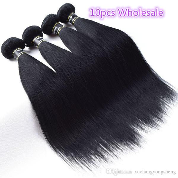Wholesale 10PCS/Lot Brazilian Virgin Hair Jet Black 1# Straight Human Hair Weave Top Quality Brazilian Virgin Hair Extensions