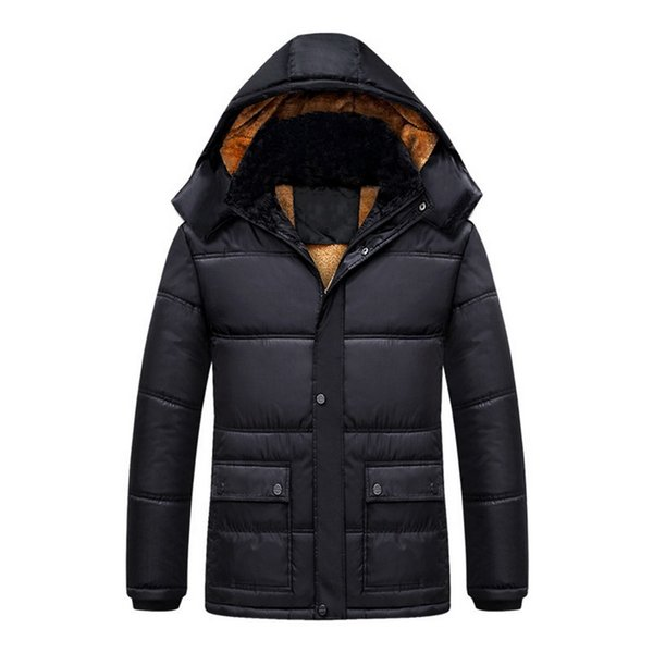 Laamei Winter Men's Hooded Jacket XL Men's Parkas Jackets And Coats Fleece Male Solid Color Front Pocket Parkas Jacket 2018 New