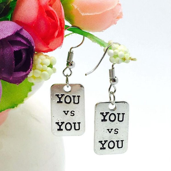 Hot Antique Silver Square You Vs You Letter Tag Charm Dangle Earring Europe United States Popular Creative Women Girl Jewelry Holiday Gift