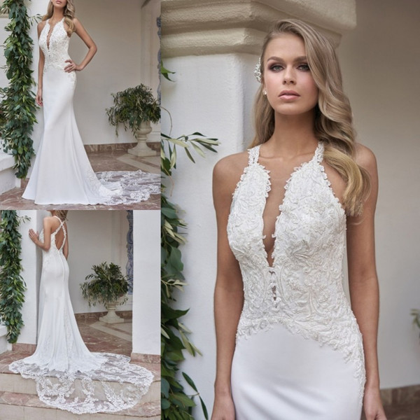 2018 Custom Made Wedding Dresses Backless Boho Gowns Bohemian Spaghetti straps Bridal Sexy Berta Halter Dress Vestidos De Noiva