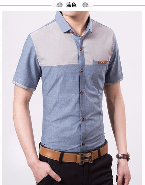 Pop Fashion Men Shirt Stitching Bluse Schlank kurze M-4XL