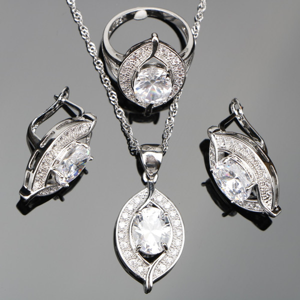 ashion Jewelry Sets Wedding White Zircon Silver 925 Costume Jewelry Sets Women Earrings With Stones Pendants&Necklaces Rings Set Jew...