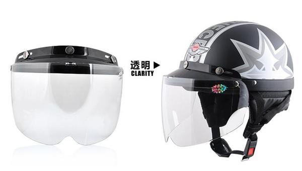 eb224c8a Top quality DIY helmet Bubble Visor UV 400 protection Helmet Windshield 3  pin buckle adjustable flip up glass 4 colors