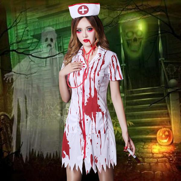 Marken WYB Cosplay Kostüme In Übereinstimmung mit dem speziellen Tanz blutigen Halloween-Party Tanzkleid Uniform Krankenschwester