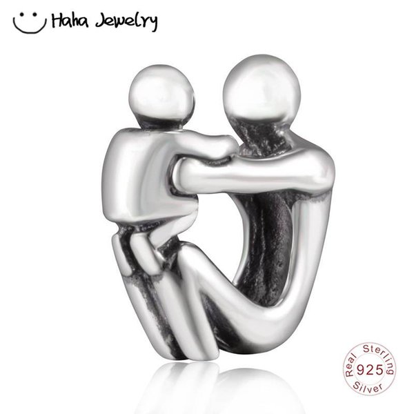 Haha Jewelry Paternity Charm Authentic Antique 925 Sterling Silver Family Forever Bead Compatible for Pandora Charms Bracelet Making