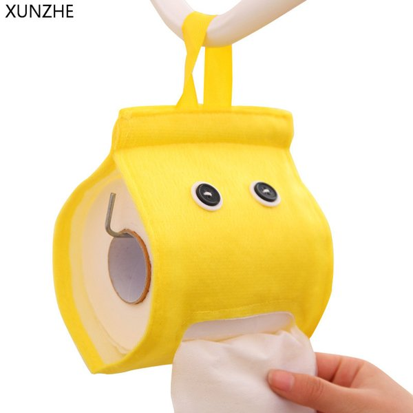 XUNZHE 1pcs New Cartoon Elfin Napkin Storage Box Cute Roll Paper Extract Cloth Bag Hone Kitchen Bathroom Hanging Tissue Holder