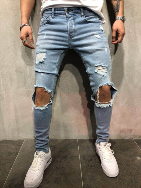 best selling Mens Biker Jeans New Distressed Holes Design Slim Fit Pencil Pants Long Trousers High Street Clothing