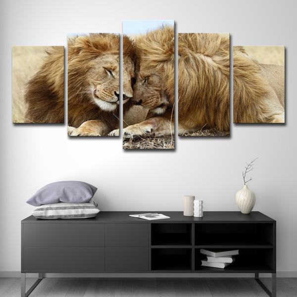 Lona HD Imprime Fotos Para Sala de estar Decoração de Casa 5 Peças Lions Couple Lovebirds Pinturas Animais Cartazes de Parede arte
