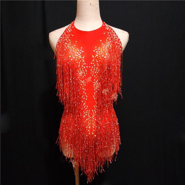 Sparkly Ouro Rhinestones Bodysuit Borla Feminino Cantor DJ Sexy Stage Show Desgaste Collant Jazz Dança Traje Cristais Outfit