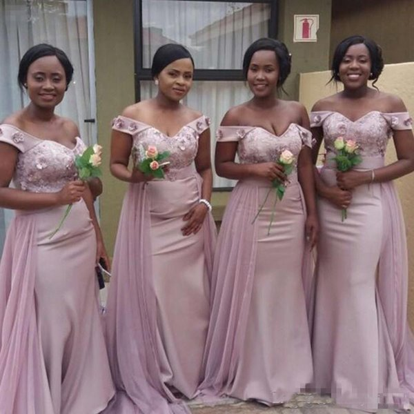 Elegant Off Shoulder Bridesmaid Dresses African Lace Appliqued Sash Mermaid Wedding Guest Dress Custom Made Sexy Maid Of Honor Gowns