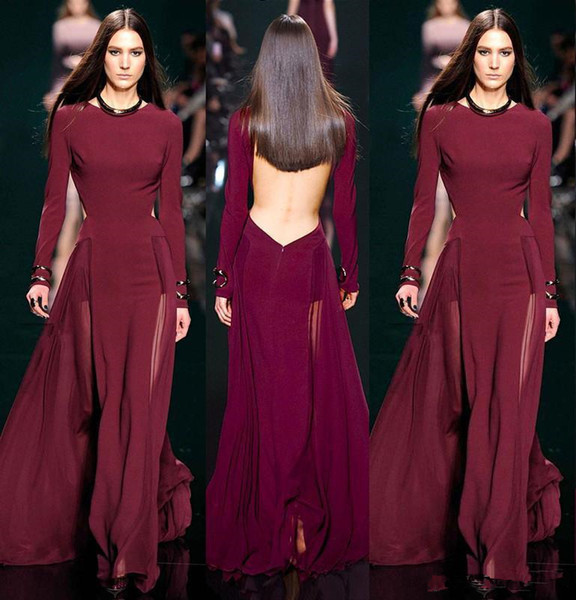 2019 Elie Saab Burgundy Chiffon Long Sleeve Evening dresses Sexy jewel neck Backless See Through Skirt Long formal prom party gowns Wear