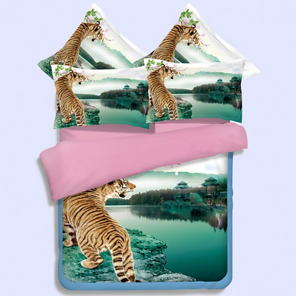 wild animal tiger duvet cover king queen twin full sizes fnatasy green bedding sets 3/4pcs woven bed in a bag girls boys teens