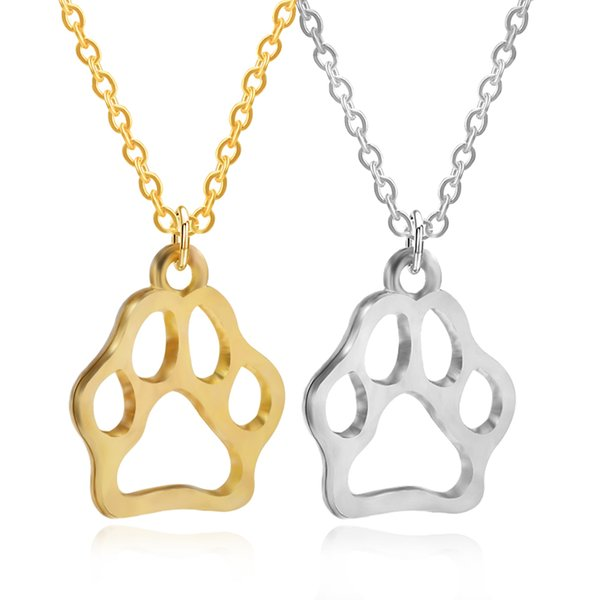 Simple Hollow Cat Dog Paw Charms Pendant Gold Silver Metal Animal Footprint Choker Necklaces For Pet Owner Jewelry Collier Femme Wholesale