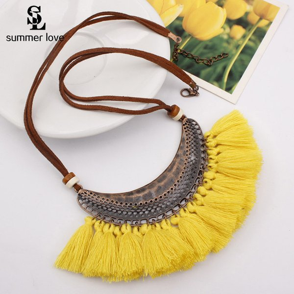 15 Colors Fan-shaped Tassel Necklace For Women Big Long Velour Rope Chain Retro Statement Necklace Pendant Bohemia Jewelry Boho