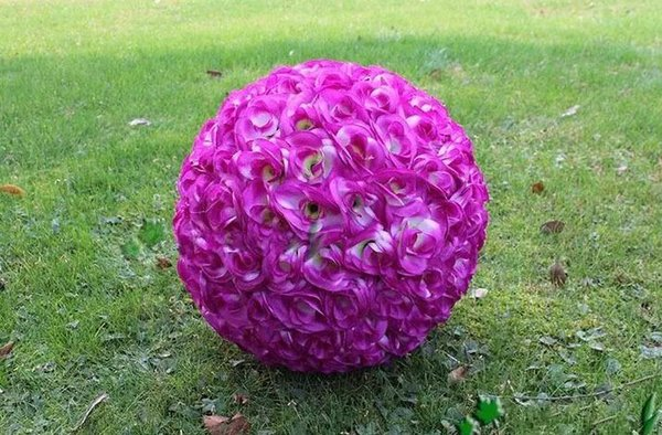 Elegant White Artificial Rose Silk Flower Ball Hanging Kissing Balls 15CM~60CM(6Inch~24Inch)rose Ball For Wedding Party Decoration