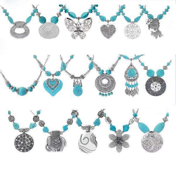 Bohemian Large Schmetterling / Blume / Elefant / Fisch / Swirl / Herzform Anhänger Silber Kette Luck Blue Perlen Halskette Frauen Schmuck