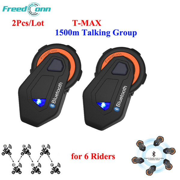 Interfono per motocicli T-Max Bluetooth impermeabile senza fili FreedConn 6 Riders Interphone per sistema di conversazione 1500M BT