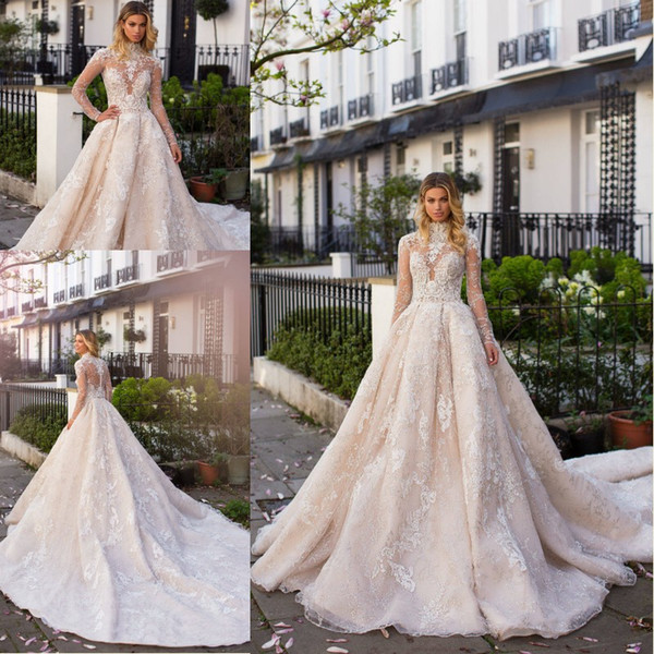 Milla Nova 2019 Winter Wedding Dresses with Long Sleeves High Neck Court Train Gorgeous Full Lace Wedding Dress Custom Made Bridal Gowns